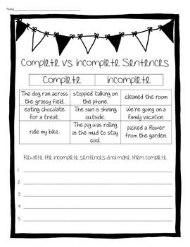 Complete vs. Incomplete Sentences