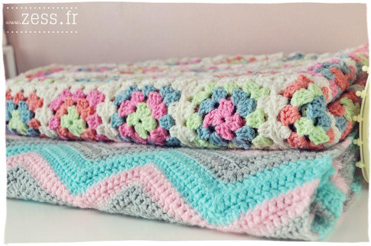 DIY : 2 plaids au crochet (granny square vs chevron) - Zess.fr // Lifestyle . mode . déco . maman . DIY