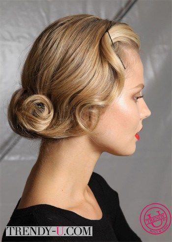 Стильная прическа в стиле ретро для волос средней длины
