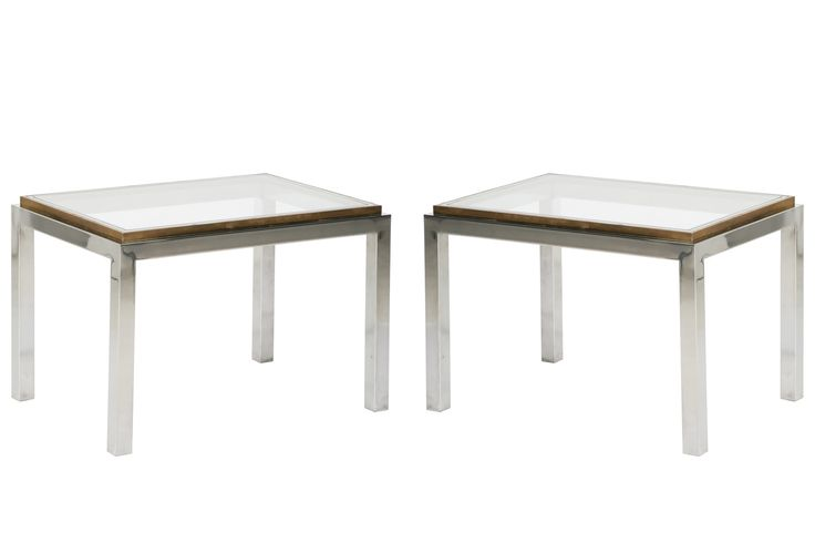 Pair of Brass and Chrome Side Tables by Jean Charles // 1970s - Wall - Greedfineart.com