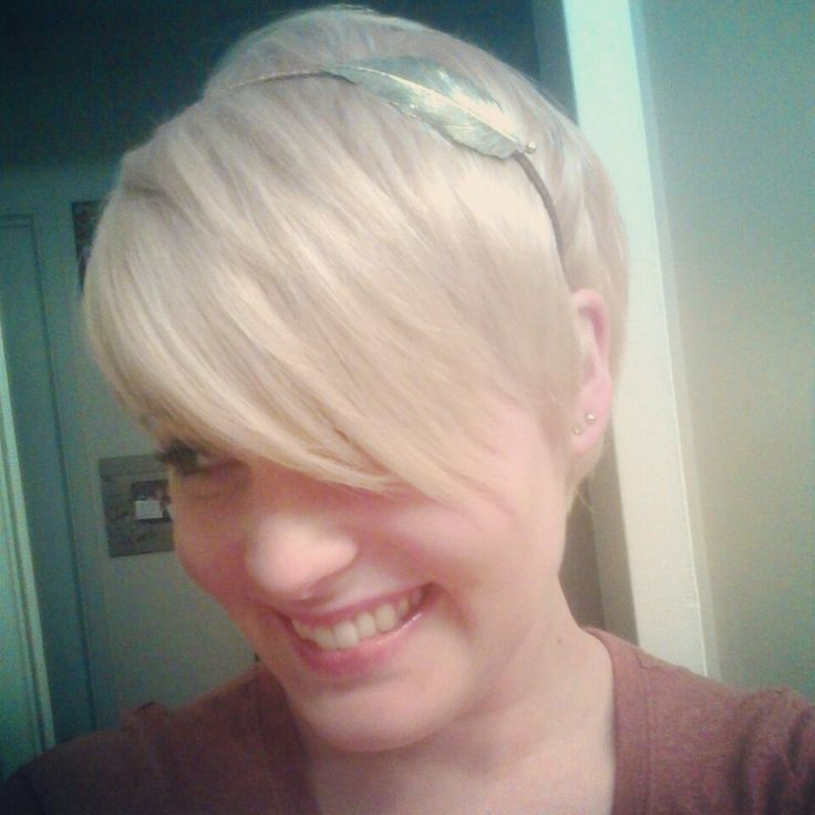 Blonde Pixie Cut With Long Bangs Hair Pinterest
