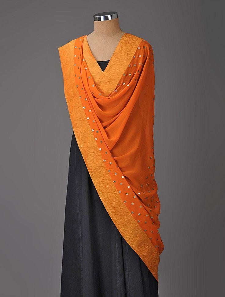 Buy Orange Sequined Chiffon-Silk Dupatta with Zari Online at Jaypore.com