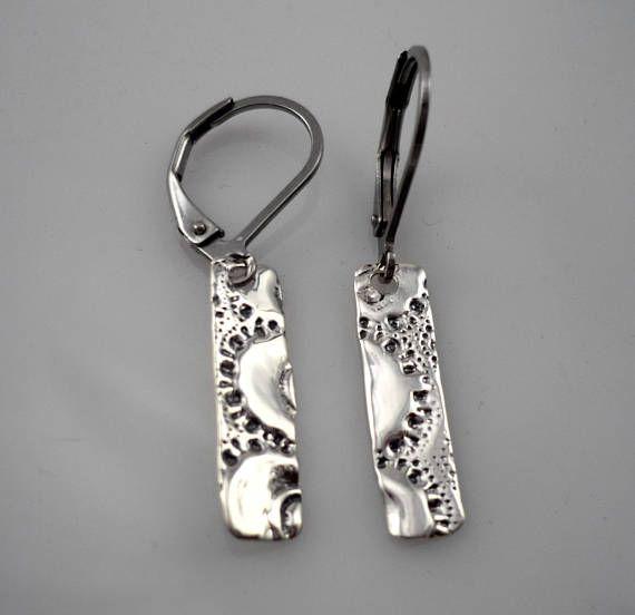 Boucles d'oreilles argent sterling 925 / rectangle / léger