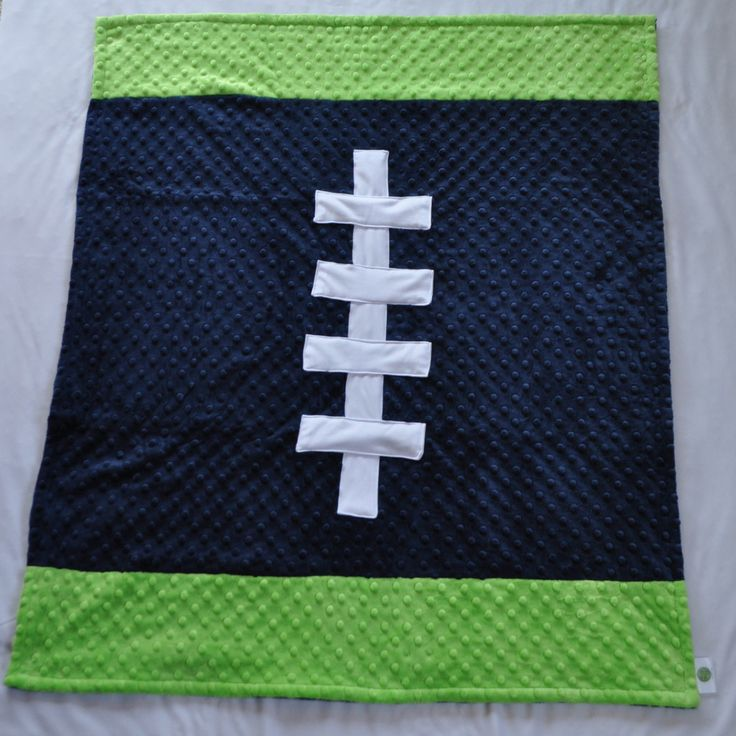 Sports Color Football Baby Blanket Navy Blue and Lime