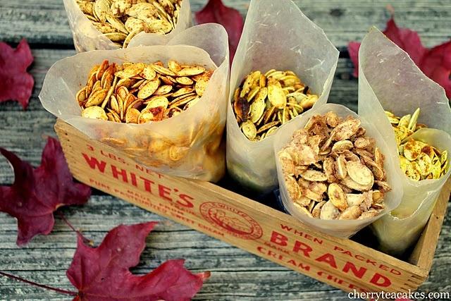 Pumpkin Seeds 5 Ways: Maryland Style Pumpkin Seeds, Sugar'n'Spice Pumpkin Seeds,   Sweet Curry Pumpkin Seeds, Paprika Pumpkin Seeds, Seasoned Salt Pumpkin Seeds #pumpkins #halloween