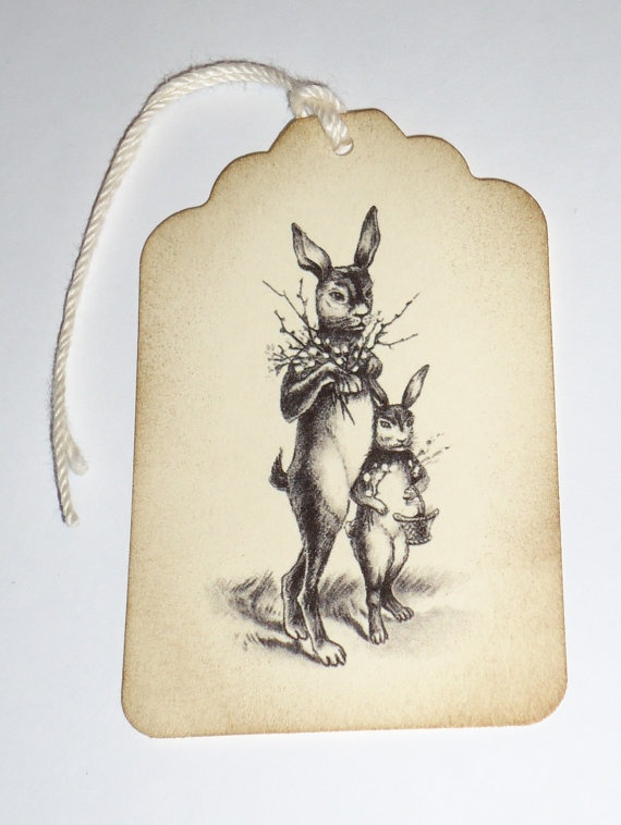 99 best bunny images on pinterest rabbit bunny and hare items similar to vintage easter bunnies handmade custom gift favor tag 6 pieces on etsy negle Image collections