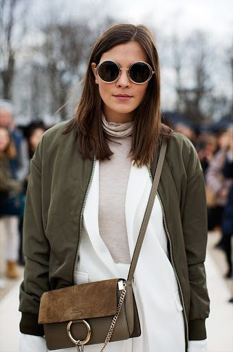 {Olive bomber and white.}