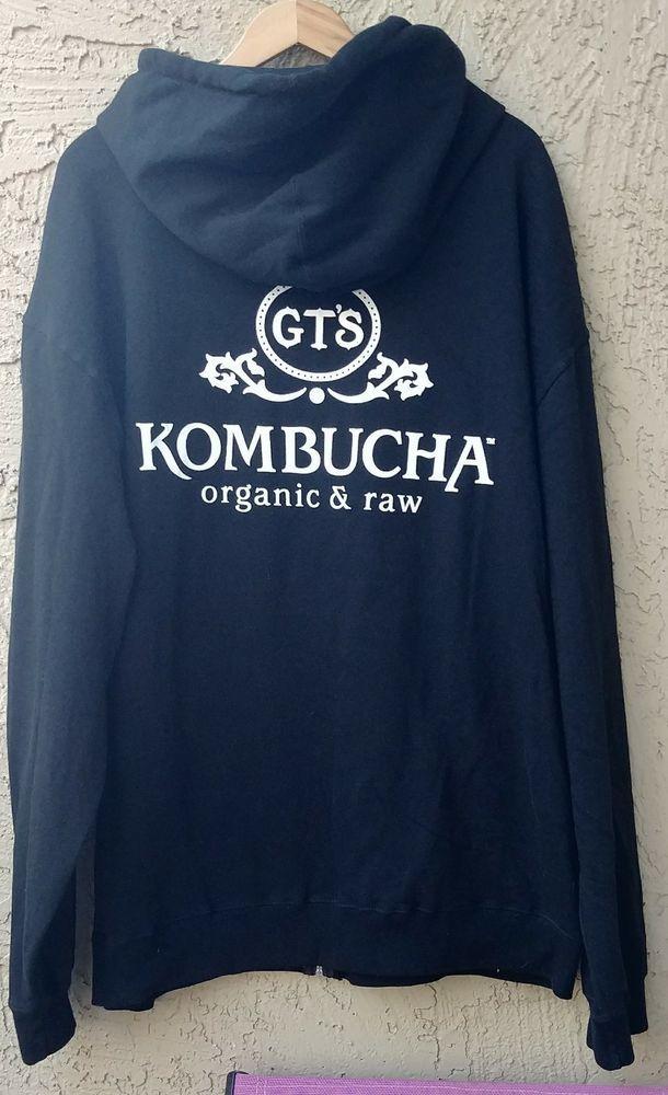 fea664de GTS Kombucha Organic & Raw Hoodie Sweatshirt Black Size 2XL XXL ...