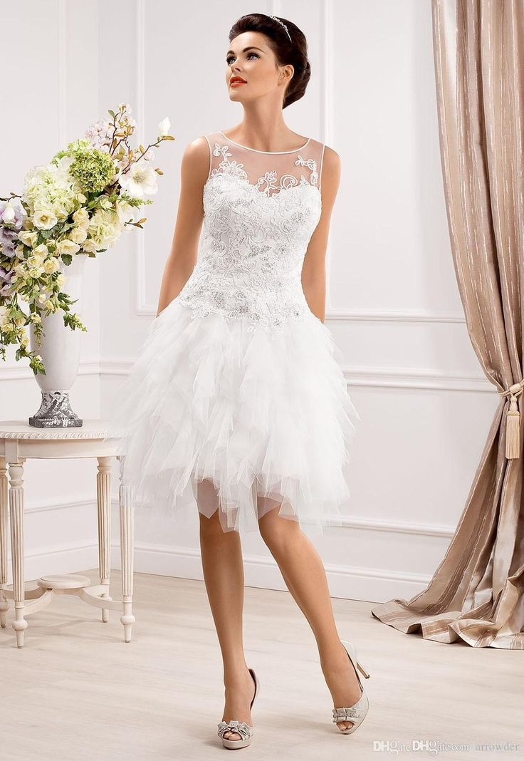 Wholesale A-Line Wedding Dresses - Buy Lovely Little Wedding Dresses A-Line Knee-length Tulle Crew Sheer Neck Beads Appplique Tires Cascading Ruffles Covered Button Gowns, $117.61 | DHgate.com