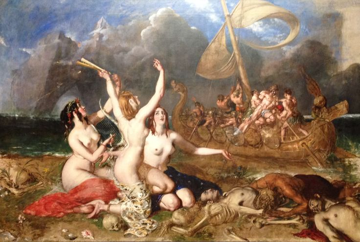 """""""The Sirens and Ulysses"""" 1837 by William Etty in Manchester Art Museum. This oil painting is striking and massive in size. In it's time this painting was scorned for it's juxtaposition of nudity and death. Etty was sketching real bodies in morgues to model the bodies in the fore front."""