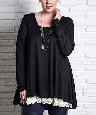 Black Lace-Trim Scoop Neck Tunic - Plus