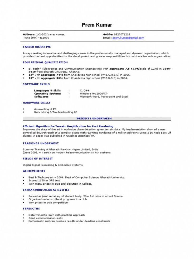 13 Resume Format For Cse Freshers 13 Resume Format For Cse