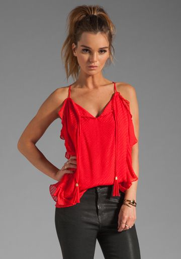 chic ruffle tank  http://justshopit.com/hottest-spring-fashion-trends/