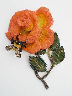 (330) Beadwork   Karen Paust   Beaded floral and bugs   Нейлоны, Бисер и Бисероплетение