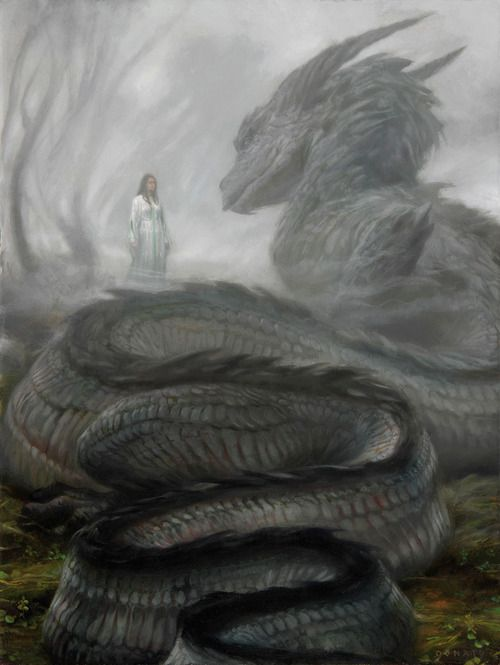 When I see different pieces of art depicting some sort of monster meeting a woman in the wilderness like this painting, I come up with new ideas or a different perspective.