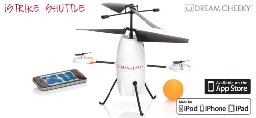 This is our iStrike Shuttle, which is is wirelessly controlled by your iPod touch, iPhone, or iPad through Bluetooth.   • 3-channel indoor helicopter  • Drops ping pong ball  • Various G-Sensor and Joystick modes to control flight  • Easy flight with advanced balancing gyro technology  • Optional training wheel for easy landing  • Ready to play, rechargeable lithium battery included