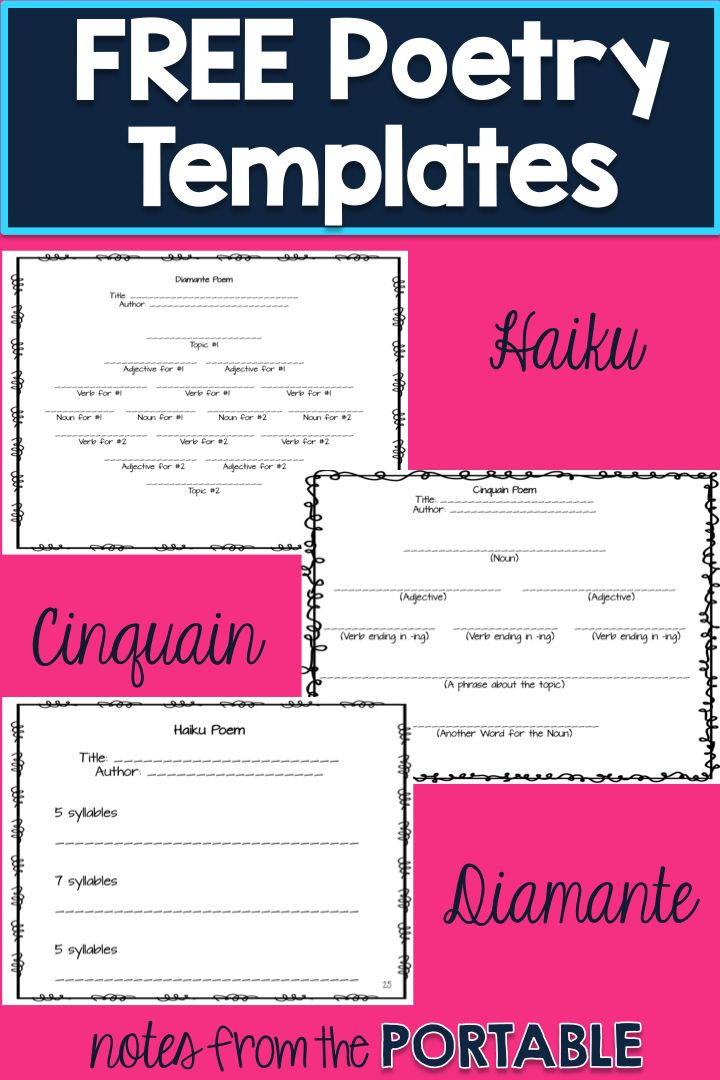 I love these FREE poetry templates!  So easy to teach haiku, cinquain, and diamante.  These were perfect for my writing center, and easy to make a quick bulletin board.  The perfect addition to any poetry or writer's workshop.