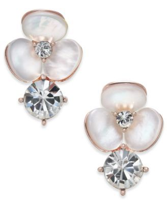 d0c5a594e kate spade new york Rose Gold-Tone Flower Mother-of-Pearl Crystal Stud  Earrings