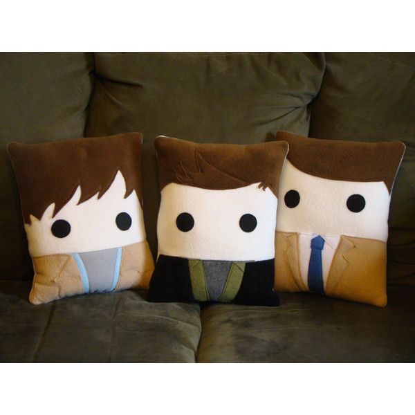Supernatural, Pillow Sam Winchester, Dean Winchester, Castiel, Throw pillow, Plush ($30) found on Polyvore