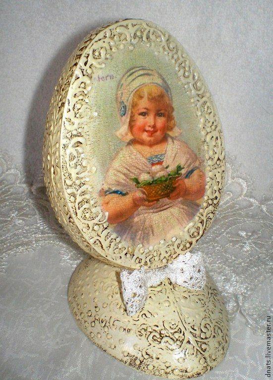 """Интерьерное яйцо """"Девочка с корзинкой"""" - пасхальное яйцо,пасхальное яйцо декупаж"""