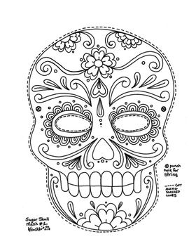 1000 images about spanish resources on pinterest for Day of the dead skull mask template