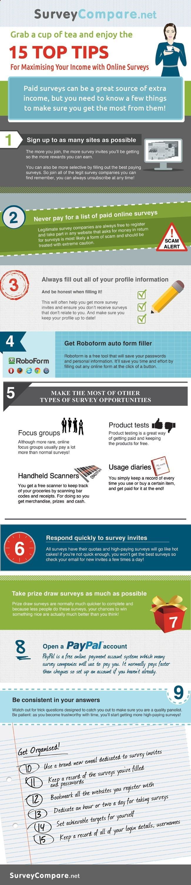 15 Tips to Earning More With Paid Surveys - If you are new to online survey world then this infographic will help you to get started and point you to right directions on how to find legitimate survey companies and how to maximize your income from taking surveys.