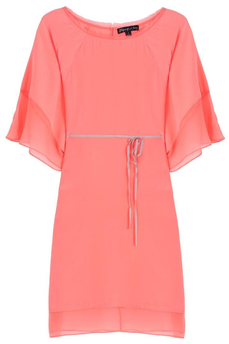 Coral Tali Tie Front Kaftan Dress