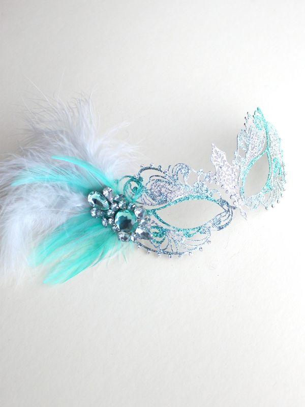 Unique Mint Green & Silver Metal Filigree Pretty Masquerade Mask