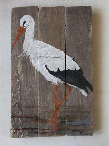 Storch im Watt von Palettes-Bilder-Shop auf DaWanda.com