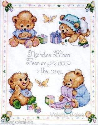 Tobin Counted #crossstitch Baby Bear Birth Record ♥ #nursery #baby #kidsroom #moms #gift #decor #handcraft #handmade #DIY #project #needlework #stitching #personalize