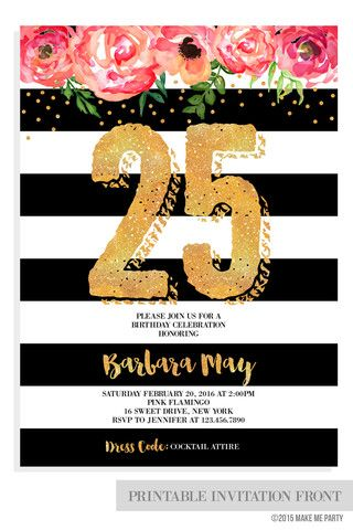 Modern Glam 25th birthday invitation with black and white stripes and gold glitter