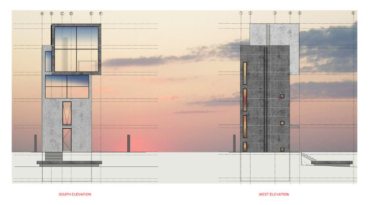 Digital render of Tadao Ando's 4X4 house Drawn by Zion Abraham