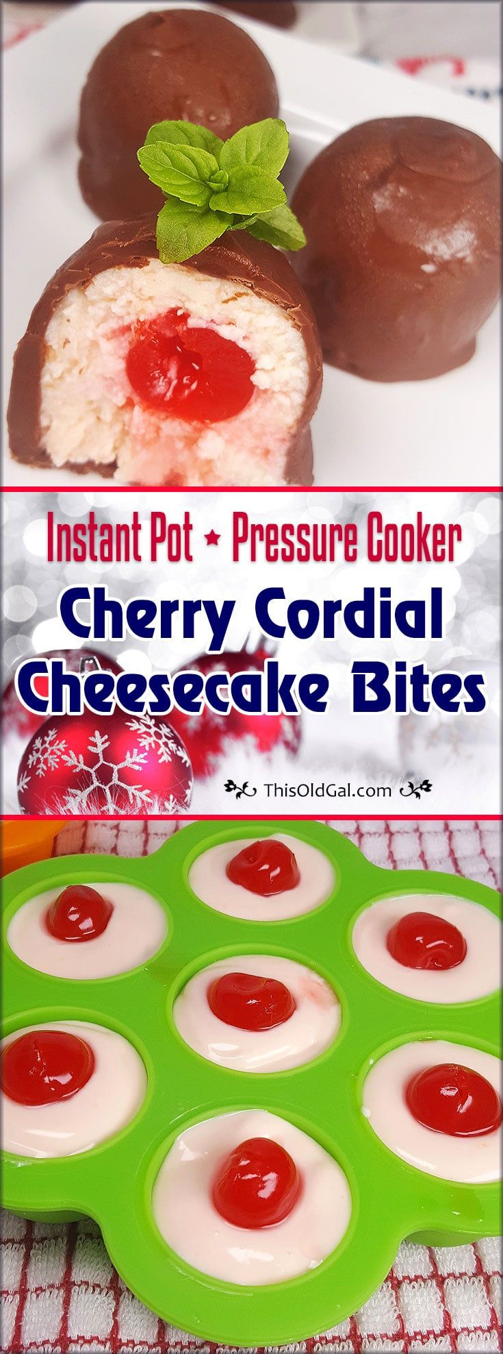 Pressure Cooker Cherry Cordial Cheesecake Bites are filled with Cherry Cheesecake and Orange Liqueur soaked Maraschino Cherries. via @thisoldgalcooks