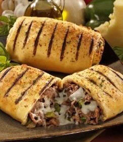 Awesome Philly Steak and Cheese Stromboli = YES ~ please and thank you! One frozen loaf thawed and rolled out . . . EASY!