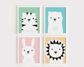 Printable Nursery Art Set of 3 Poster Bear Bunny от ARTsopoomc
