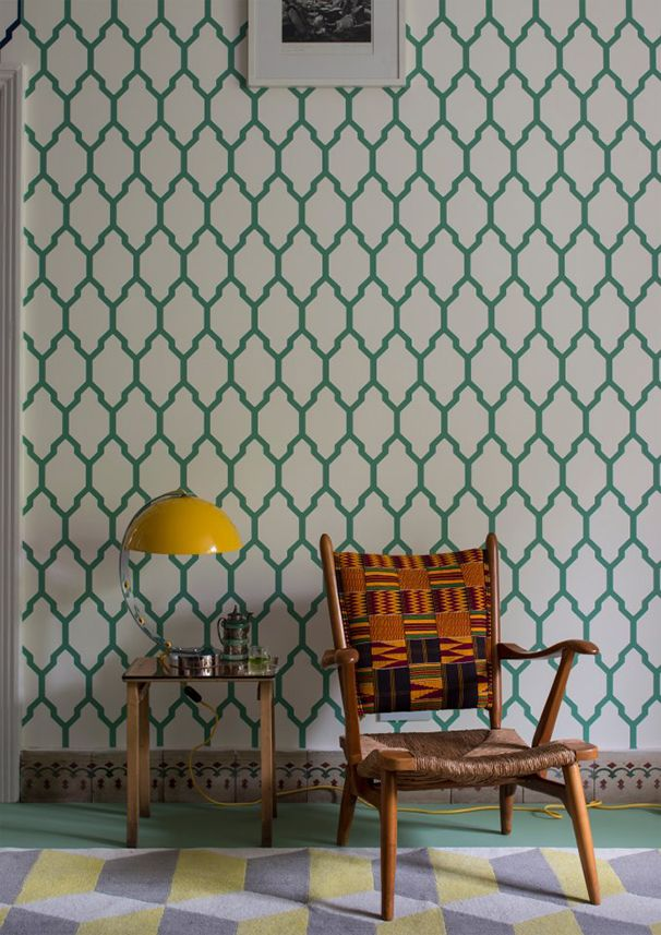 Check out the fabulous Farrow  Ball Tessella wallpaper