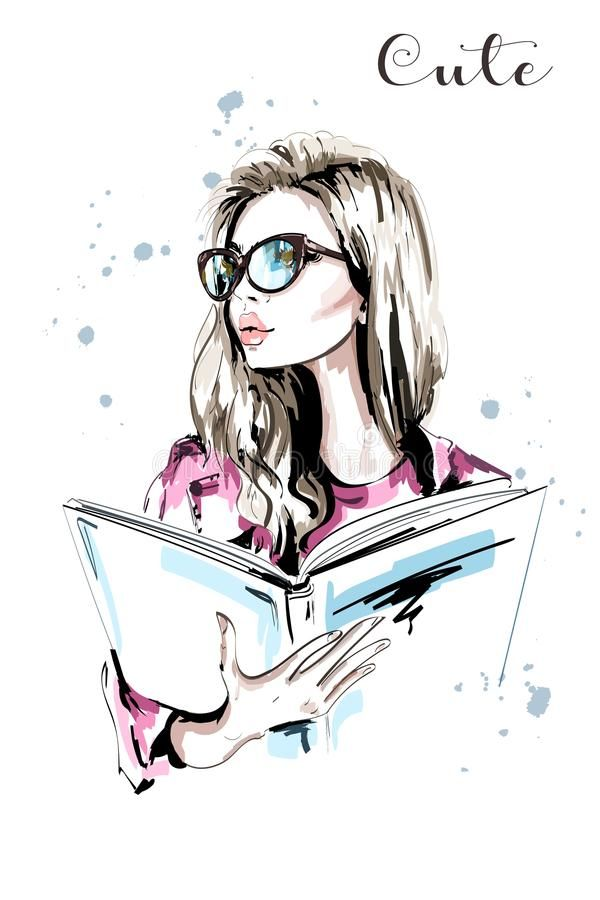Hand Drawn Beautiful Woman With Book Fashion Woman In Eyeglasses Stylish Blond Hair Girl Portrait Sketch Vect Girls Cartoon Art Girl Drawing Girly Drawings