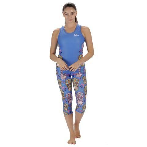 Tikiboo Blue Sugar Skulls Activewear #Activewear #Gymwear #FitnessLeggings #Leggings #Tikiboo #Running #Yoga
