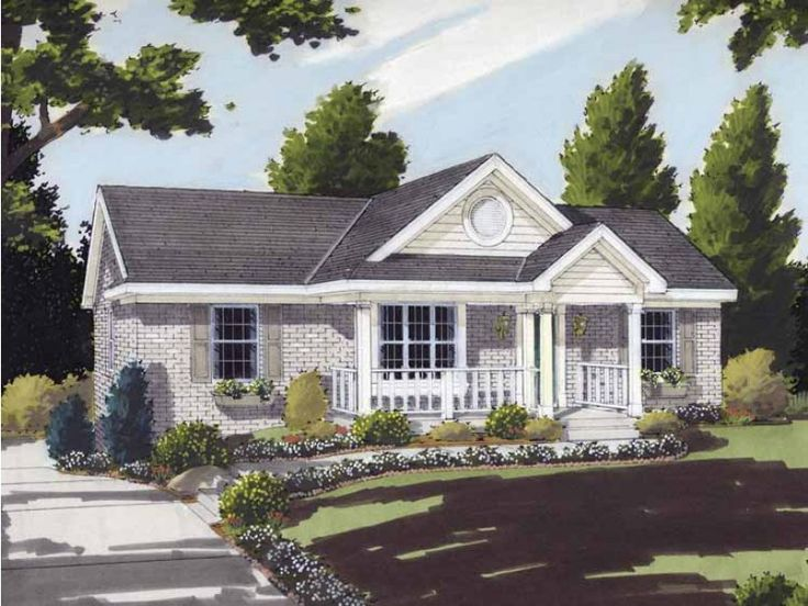 Eplans House Plan: Decorated by a large front porch and false gables this charming one level home  provides comfort for today's families.  Sloped ceilings add interest to the  combined great room and dining room area, while t
