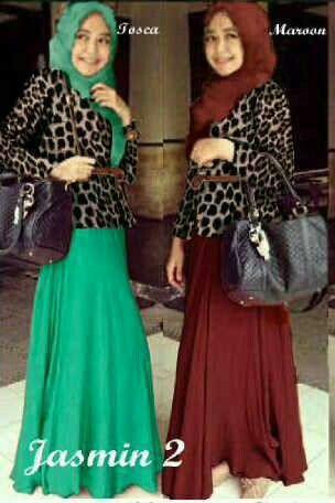 Set jasmine leo maxi+cardi leo+pashmina+belt 2warna tosca dan maroon @65