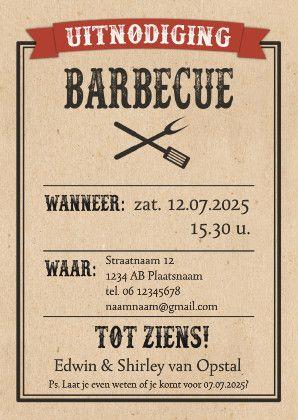 BBQ uitnodiging in western stijl, verkrijgbaar bij #kaartje2go voor €0,99