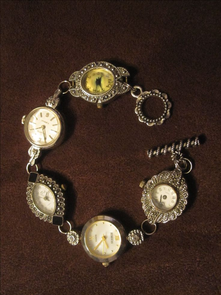 Vintage watch face bracelet inspired by Victorian Trading Company. G's 18th birthday present.