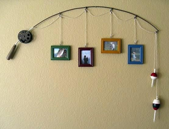 fishing decor - hang picture of each girl.