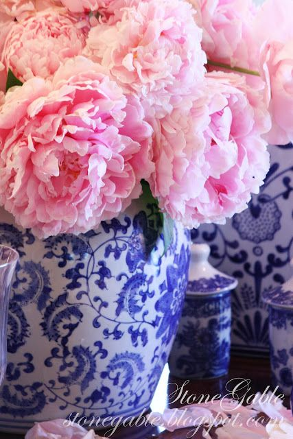 "I love the traditional ""dinner plate"" pattern on that vase and the pink peonies really make for a charming arrangement!"