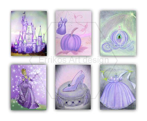 Princess Fairy Cinderella Disney Nursery Set 6 Prints Purple