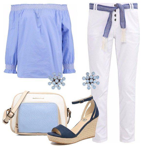 Jeans baggy alla caviglia, di colore bianco, con gamba stretta, abbinati a camicetta in cotone che lascia le spalle scoperte. I sandali blu con le zeppe, belli e comodi, insieme alla borsa a tracolla, rendono il nostro look perfetto per le passeggiate al mare e in città. Unico gioiello, i deliziosi orecchini.