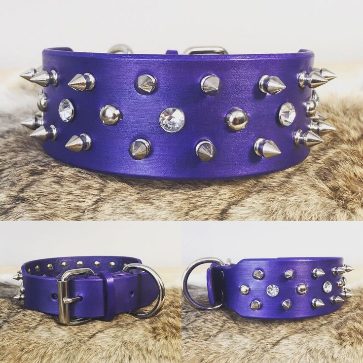 """Excited to share the latest addition to my #etsy shop: 2"""" Genuine Leather Custom Spiked Dog Collar with Custom Color options"""