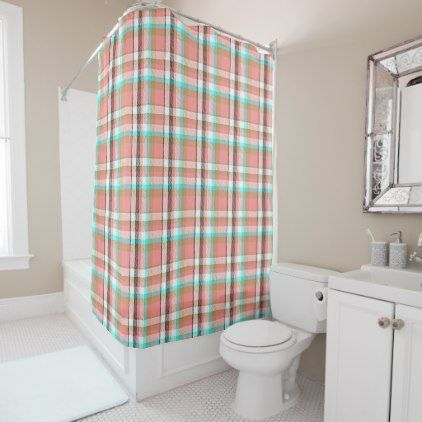 Turquoise Pink Retro Chic Tartan Plaid Pattern Shower Curtain - home gifts ideas decor special unique custom individual customized individualized