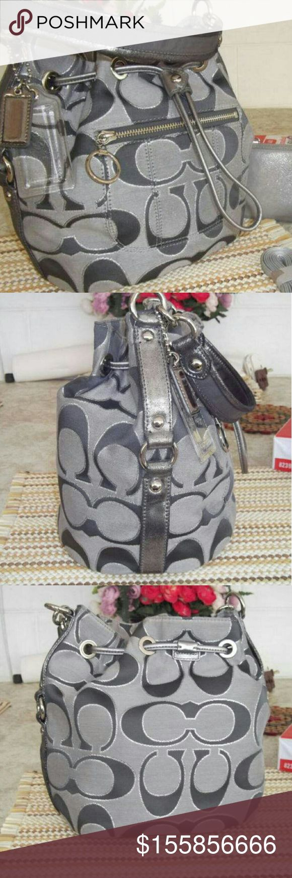 RARE Coach Poppy metallic drawstring bucket bag Used but in great condition.  RARE  ❤ Make me an offer.  😘😘❤☺ Coach Bags Crossbody Bags
