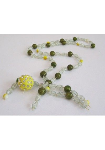 disco ball handmade rozario necklace with glass beads and disco ball pendant